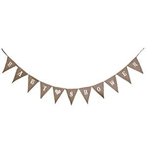 PIXNOR BABY SHOWER Hessian Bunting Banners Party Decoration 11 Flags
