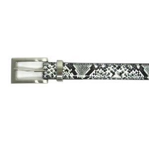 """1"""" Women's Extended Rectangular Silver Buckle on Quality Snake Skin Print Belt"""