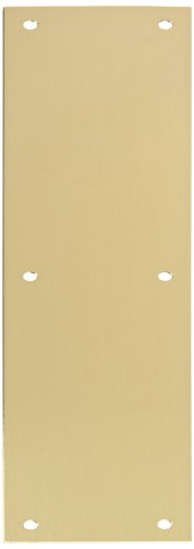 Rockwood 70B.4 Brass Standard Push Plate, Four Beveled Edges, 15'' Height x 3-1/2'' Width x 0.050'' Thick, Satin Clear Coated Finish by Rockwood