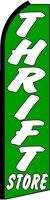 THRIFT STORE (Green) Flutter Feather Banner Flag (11.5 x 3 Feet) by Flagforest