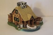 Gone Fishing Log Cabin (Partylite Tealight Porcelain Village Log Cabin Gone Fishing Lodge 7
