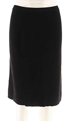 Joan Rivers Wardrobe Builders Sweater Knit Pull-On Skirt Black M # A258816 ()