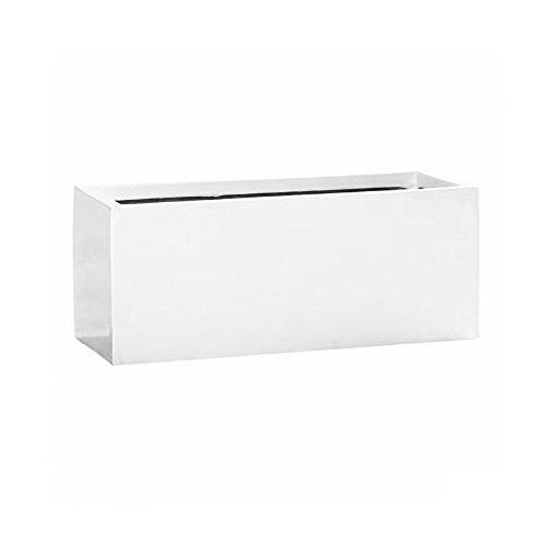 Balcony White Shiny Rectangular Planter Box 8x8x20