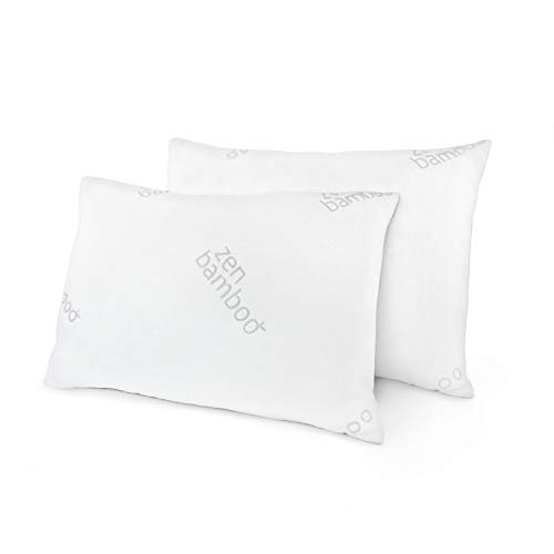 Zen Bamboo Ultra Plush Gel Pillow - (2 Pack Queen) Premium Gel Fiber Pillow with Cool and Breathable Bamboo Cover - Hypoallergenic
