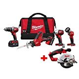 Milwaukee M18 18-Volt Lithium-Ion Cordless Hammer Drill/Hackzall/Impact/Metal Circular/Light Combo Kit (5-Tool) | Hardware Power Tools for Your Machine Shop, Construction or Jobsite Needs
