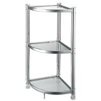HOMEBASIX HS05A-CH 3-Tier Glass Corner Shelf, Chrome by Homebasix
