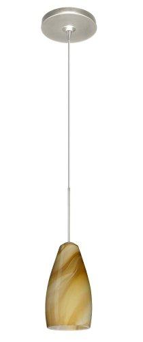 Besa Lighting 1XP-7198HN-SN Karli 1-Light  12-volt Mini-Pendant, Honey Art Glass Shade with Satin Nickel Finish