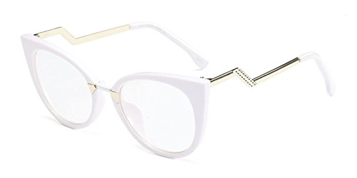 Slocyclub Women's Super Trendy Fashion Zigzag Temple Cat Eye Clear Lens - Pink Trendy Eyeglasses