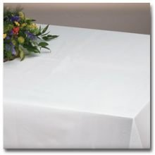 Hoffmaster 8108 Linen-Like Select White Poly Table cover - Banquet Size 50 x 108 inch -- 24 per case. by Hoffmaster