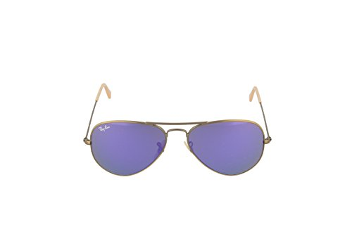 Ray-Ban RB3025 Aviator Large Sunglasses, Brushed Bronze/Violet Mirror, 55 mm by Ray-Ban (Image #2)
