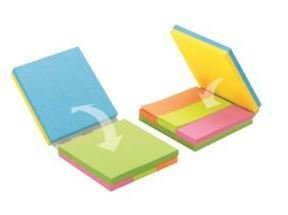 Post-it Fold & Flip Cube, 3 x 3, 1 x 3, Neon, 3 50-Sheet Pads Each Size per Cube, 6/ST