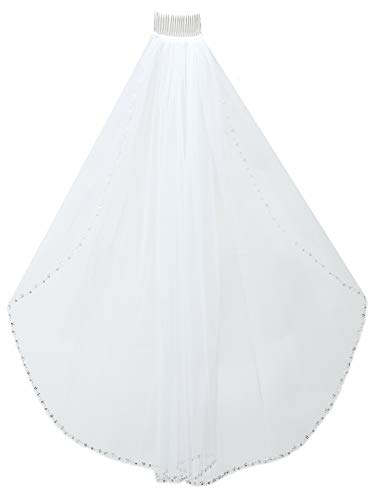 - 1T Rhinestone Pearl Sequin Beaded Wedding Veil - Ivory Elbow Length 30