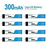 BETAFPV 8pcs 300mAh 1S Lipo Battery 30C 4.35V with JST-PH 2.0 Powerwhoop Connector for Tiny Whoop Blade Inductrix 1S…