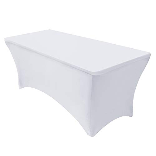 VEEYOO Spandex Table Cover 4/6/8 Feet Stretch Fitted Polyester Tablecloth, Durable Table Cover for Party Wedding Celebration Buffet Trade Shows, 4ft Table Cover (48 x 30 x 30 inch), White