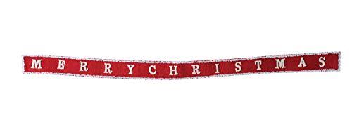 Creative Co-Op Cream & Red Merry Christmas Wool Felt Banner Garland Multi