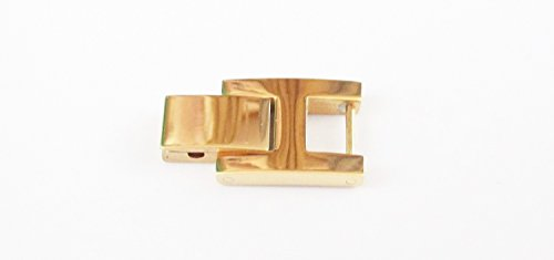 Gold Tone Stainless Steel H Foldover Clasp 5.7mm (for 6mm fold over) Fold Over Watch Bracelet Extender - Gold Fold Over Clasp