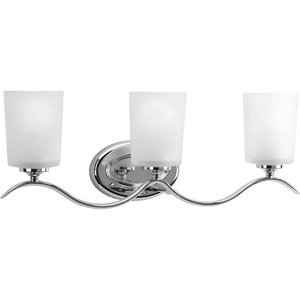 Progress Lighting P2020-15 Inspire Collection Three-Light Bath & Vanity, Polished Chrome