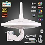 ANTOP UFO 720 Dual-Omni Reception Outdoor HDTV Antenna 65 Mile Range with Smartpass Amplified & Built-in 4G LTE Filter Fit Indoor/Outdoor/RV/Attic Use for Enhanced VHF/UHF(33ft Coaxial Cable) AT-415B
