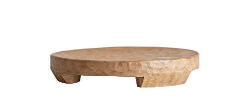 Creative Co-op Round Mango Wood Tray Pedestal, - Pedestal Finish Wood