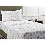 Mainstays Back to School 180 Thread Count Sheet Set, Fun & Modern! Your Favorites- Florals, Llama, Pineapples, Cactuses, Geometric Triangles! Flat, Fitted, & Pillowcase Set! (Twin XL, Llama)