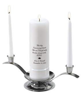 Personalized Unity Wedding Candle Set - Personalized Wedding Candle - Includes Stand - This Day ()