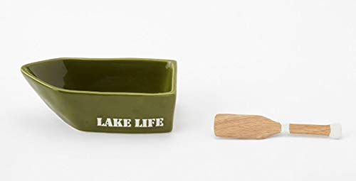 Mud Pie Home Lake Retreat Collection Green Dip Bowl and Oar Spreader Set Lake Life