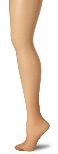 Hanes Women's Control Top Reinforced Toe Silk Reflections Panty Hose, Barely There, C/D