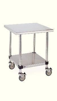 (LTSM48US - Description : Mobile Worktables with Stainless Steel Top, Backsplash, and 3-Sided Frame - Lab Worktables, Mobile, Metro -)