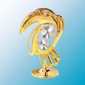 24K Gold Plated Toucan Free Standing - Clear - Swarovski Crystal