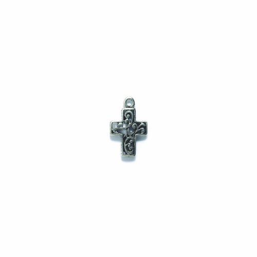 Cross Charms Pewter (Shipwreck Beads Pewter Filirgree Cross Charm, Metallic, Silver, 15 by 24mm, 4-Piece)