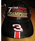 NASCAR Dale Earnhardt Sr #3 Seven 7 Time Winston Champ with Dates Black Leather Hat Cap One Size Fits Most OSFM Chase Authentics