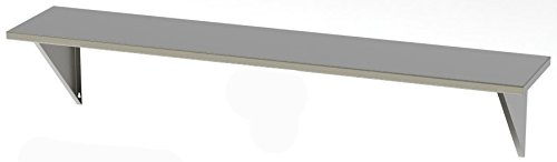 Stainless Supply 304 Stainless Steel Fixed Shelf - Solid (Various Sizes Available; See Drop Down Menu) - Selected Size: (8''x60'') by Stainless Supply