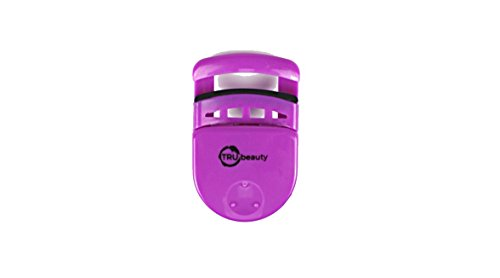 Trubeauty Eyelash Curler: Compact,Travel Size,Lasting Curl, Creates Deep Sweeping Lashes & comes w/Extra Silicone Curling Pad-for Sensitive Skin,on the go makeup,use before or after Mascara (Purple)
