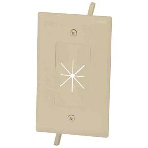 Installerparts 1-Gang Feed-Through Wall Plate with Flexible Opening, (Gang Split Port Almond)