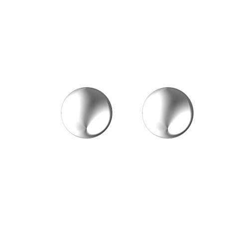 Plain Gold Jewelry, Dainty, Hollow 8mm Flat Ball Studs in Solid 14K White Gold with Push Backs, High Polished Dainty Earrings