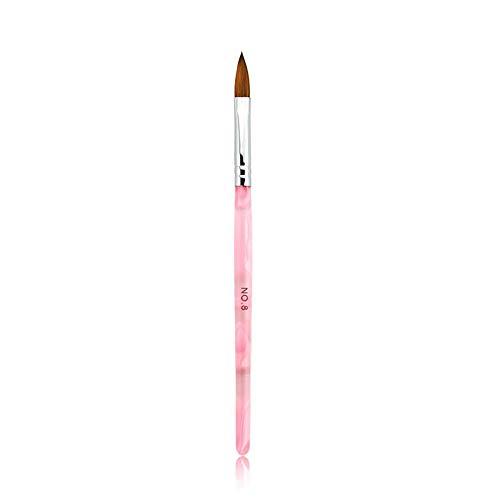 Rolabling Kolinsky Sable Brush Acrylic Nail Art Builder Brush Crystal Pink Nail Art Painting Brush (size 8#)
