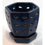 "Hexagon Ceramic Orchid Pot and Saucer plus Felt Feet 5"" x 5 1/8"" - Blue"