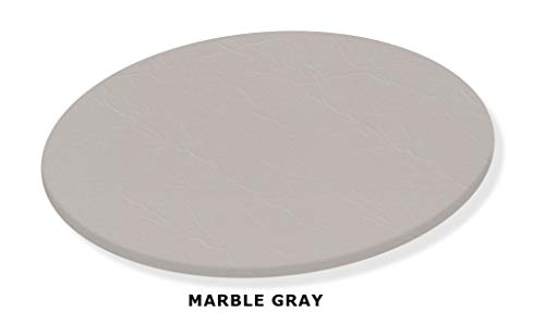 (Marble Gray Lazy Susan Turntable - Custom Size - Covered in a Gray Vinyl Upholstery)
