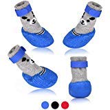 SMARTHING Dog Cat Boots Shoes Socks with Adjustable Waterproof Breathable and Anti-Slip Sole All Weather Protect Paws(Only for Tiny Dog) (M, Blue) by SMARTHING