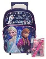 2015 New Disney Frozen Elsa & Anna Large Rolling Backpack with Stationery Set