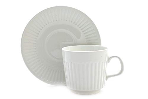 Johnson Brothers Ironstone Athena White Ribbed Coffee Cup and Saucer Set