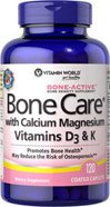 Vitamin World Bone Care with Calcium Magnesium Vitamins D3 & K Bone Density Supplement 120 Coated Caplets Dietary Supplement