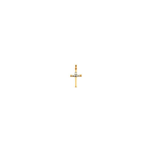 14K Two-tone Gold 25x16mm Hollow Claddagh Cross Pendant
