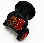 Oreille-clous, en acrylique noir avec dés-flamés; 5mm