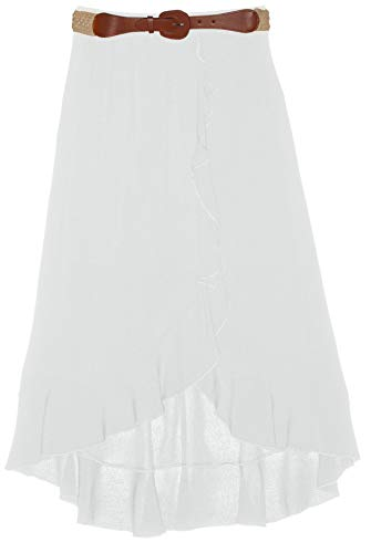 Amy Byer Girls' Big Ruffle Front Maxi Skirt with Belt, Ivory, -