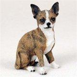 (Chihuahua, Brindle/White Original Dog Figurine (4in-5in))