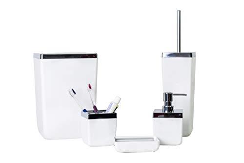 HOLDN' STORAGE Bathroom Accessories Set - 5 Piece, White Elegant and Highly Durable Decor, Bath & Home Accessory Set, Soap Dish, Soap Dispenser, Toilet Brush, Toothbrush Holder & Trash Can (Bathroom Sets Elegant)
