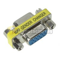 Mini Gender changer, slim, VGA HD15 Male to Female