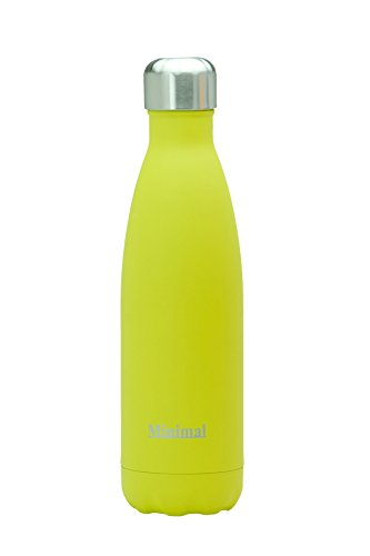 Minimal Insulated Bottle - 500ml - Yellow - 18/8 Stainless Steel Double Wall Vacuum Insulated & BPA Free. Keeps Beverage Hot and Cold Up to a Day. FREE Carabineer / Silicone hanger!