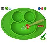 Owl Silicone Placemat - Spill Proof Suction Plate for Baby, Kids, Children, Toddlers by Angel Home (Green)